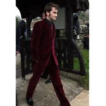 Men's Burgundy Velvet Wedding Groom Tuxedos Groomsman Best Man Party New Suits