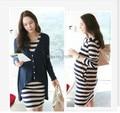 2016 весной и осенью одежды для беременных элегантный материнства полоса хлопок платье + кардиган twinset для беременных женщин большого размера