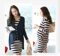 2016 spring and autumn maternity clothing elegant maternity stripe cotton dress+cardigan twinset for pregnant women large size
