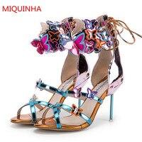 MIQUINHA Multicolors Patent Leather Ankle Wrap Women Sandals Butterfly Appliques Narrow Strap Lace Tie Gladiator Sandals