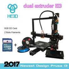 Dual extruder auto level Reprap   flex  Aluminium Extrusion 3D Printer kit  2 Rolls Filament 8GB SD card LCD As Gift