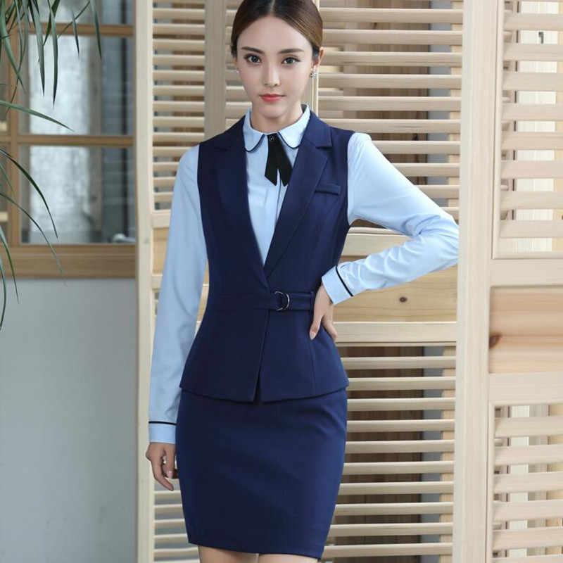 9d024d65e ... Primavera y verano Chaleco de las mujeres trajes de falda ropa de  trabajo conjunto formal de ...