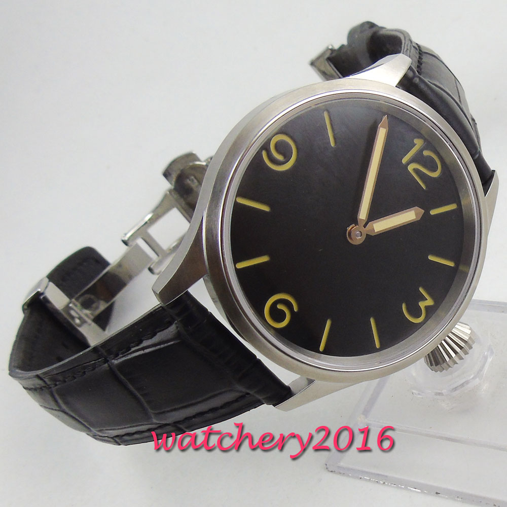 43mm PARNIS Black Sterile Dial Stainless steel Case Deployment clasp Hand Winding movement mens Watch