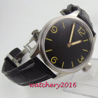43mm PARNIS Black Sterile Dial Stainless steel Case Deployment clasp Hand Winding movement men's Watch