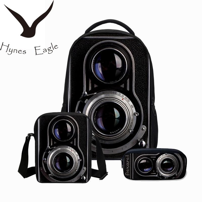 Hynes Eagle Men s Backpack 3 PCS SET School Bags 3D Camera Printing Bookbag  Children Shoulder Bag Boys Cool Canvas Backpack-in Backpacks from Luggage    Bags ... 887fdb1dae10e