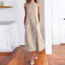 купить Women Summer Dress Casual Striped Print Sleeveless Dress Crew Neck Linen Pocket Long Dress по цене 597.25 рублей