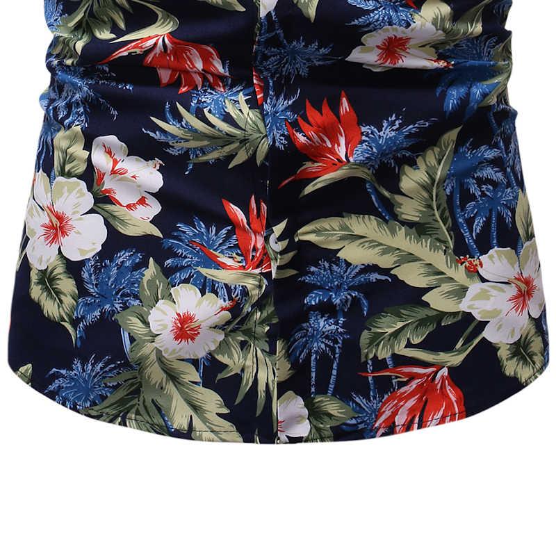Мужская пляжная гавайская рубашка с цветочным принтом, летняя повседневная рубашка на пуговицах с коротким рукавом, Мужская Праздничная гавайская рубашка