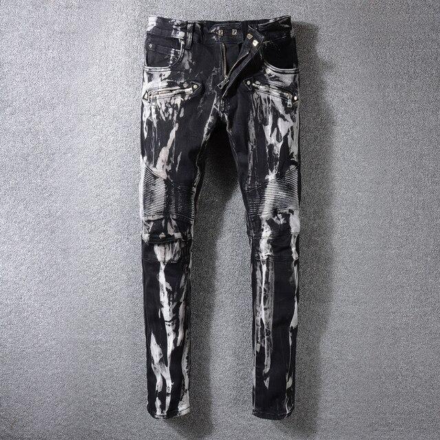 High Street Fashion Men Jeans Black Color White Paint Dirty Washed Hip Hop Cargo Pants Slim Fit Biker Night Club