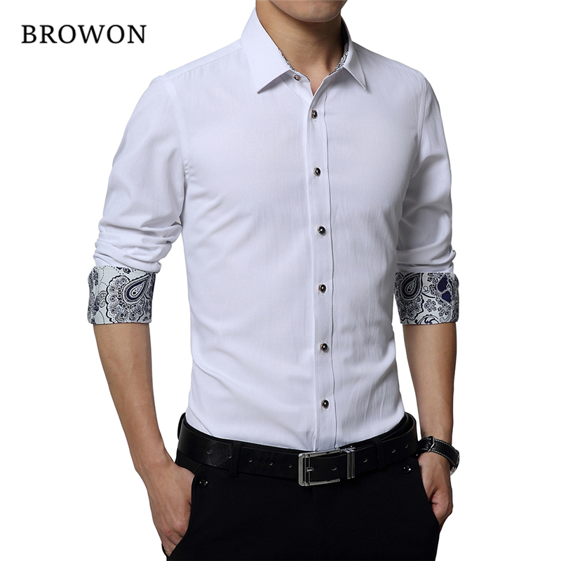Plus Size 5XL 2019 Fashion Autumn Mens Dress Shirts Long Sleeve Slim Fit Men Double Cuff Shirts White Shirt Men Chothes