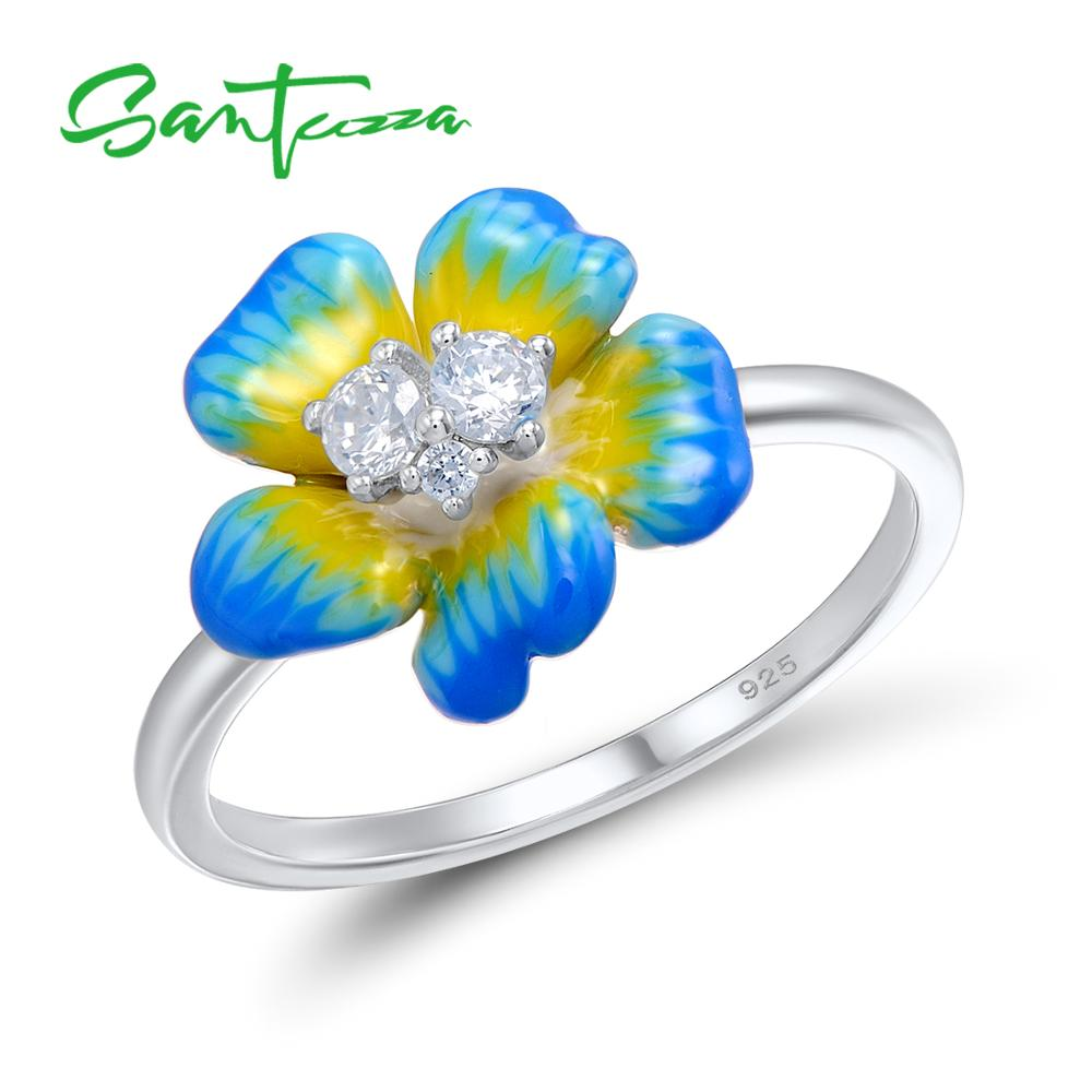 SANTUZZA Silver Rings For Women 925 Sterling Silver Elegant Blue Blooming Flower Cubic Zirconia Ring Fashion Jewelry Enamel