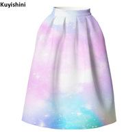 Womens Sexy American Apparel Knee Length Skirt Printed Tutu Faldas Plus Size Summer High Waist Skirts