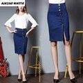 2017 Summer Plus Size Denim Skirts Women's Side Slits Hip Package Pencil Skirt Knee-Length Jeans Female