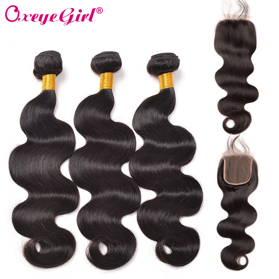 Oxeye girl Peruvian Body Wave Bundles With Closure Free Part 4Pcs Natural Color Non Remy Human