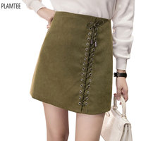Vintage Suede Mini Skirts Autumn Winter Bandage Skirts Women High Waist A Line Skirt Plus Size