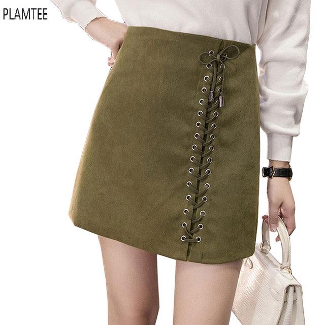Vintage suede mini faldas otoño invierno vendaje faldas las mujeres de cintura alta falda de una línea más el tamaño faldas de colores sólidos flaco saias