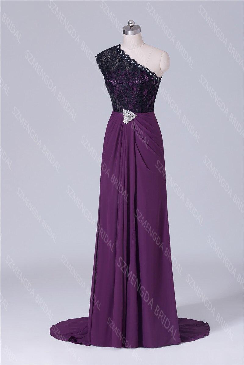 MDBRIDAL Side Slit Grape Purple Bridesmaid Dresses One Shoulder ...