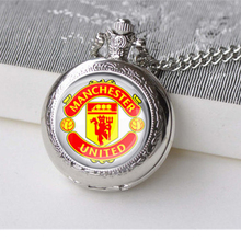 New Fashion Manchester Design Pocket Watch Necklace Chain Pendant Gift For Men Women