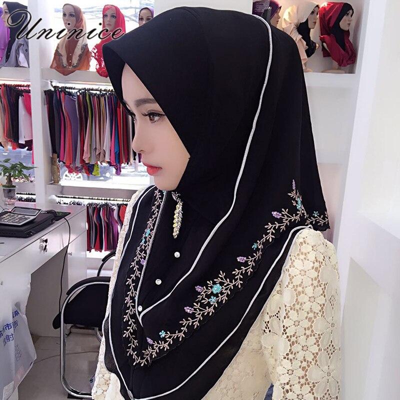 Fashion Muslim Women's Hijab Embroidery Scarf Bandanas Hooded Instant Wraps Bonnet Shawl Headscarf Abaya Headgear Arab Islamic