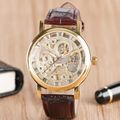 Luxury Brand Hollow Dial Brown Leather Band Strap Wrist Watch Mechanical Hand Winding Trendy Stylish Watches