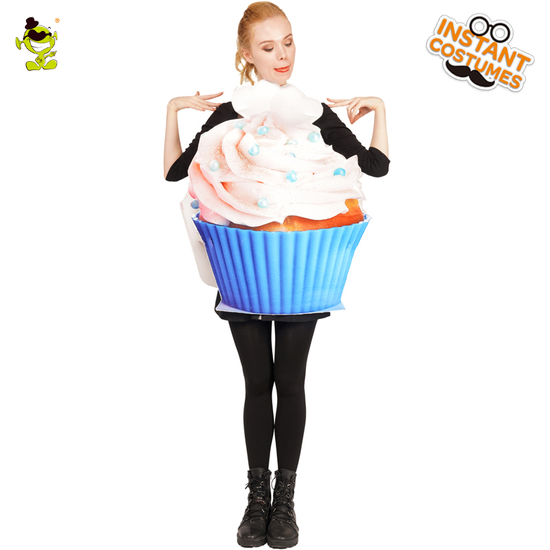 Halloween Lady's Cupcake Party Costume Fancy Dress up Double sided Ice Cream Costumes for Unisex Adult