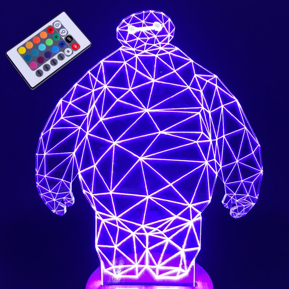 Big hero 3D Illusion light LED night light projector for babys Luminaria Novelty USB Lamp for room party ktv nightclub wedding novelty night light baymax big hero 3w luminaria white green red color lava lamp for children bedroom decorate luminaria de mesa