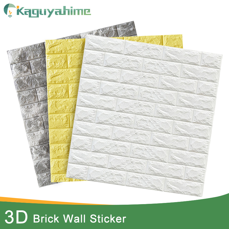 Kaguyahime 3D pegatinas de pared de ladrillo decoración DIY papel pintado impermeable autoadhesivo para habitación de niños dormitorio 3D pegatina de pared de ladrillo