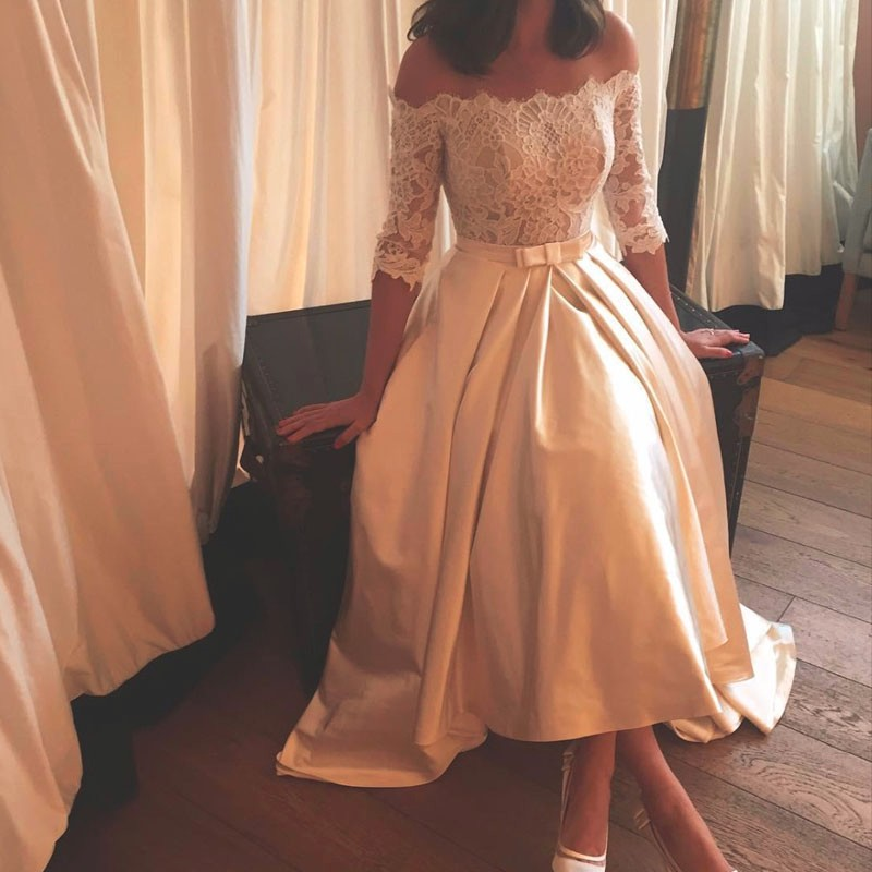 2017 Vintage Wedding Dresses Off Shoulder Half Sleeve Lace