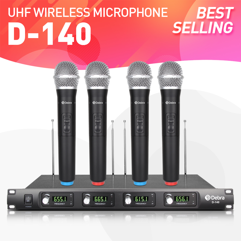 top quality debra audio d 140 4 channel 4 handheld cordless mic uhf wireless microphone. Black Bedroom Furniture Sets. Home Design Ideas