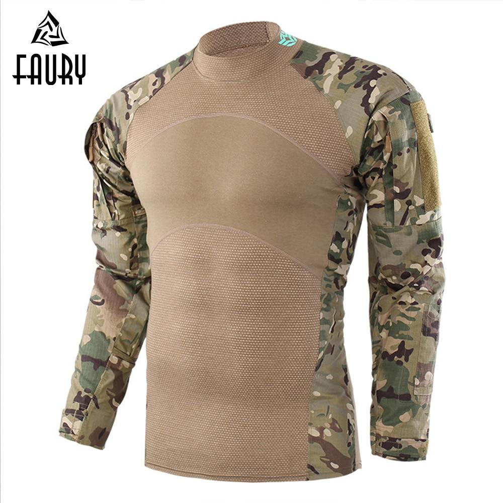 Haute qualité 2018 nouveau tactique militaire Camouflage Combat chemise hommes à manches longues trois générations grenouille hauts Multicam uniforme 2XL