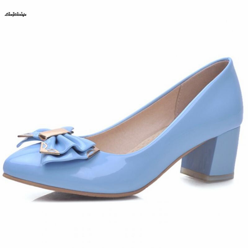 Sweet Bowtie shoes woman pointed toe 5cm Square heels zapatos mujer Metal decoration women shos 31 32 33- 42 43 Rhinestone Pumps