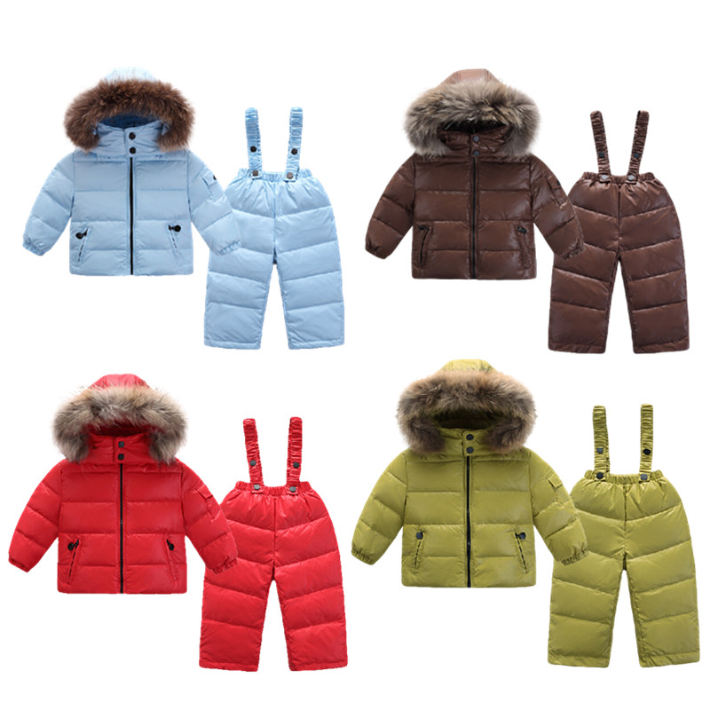 Fashion 2017 winter Warm clothing set for girls down jackets for children kids clothes boy's costumes outdoor Parka Jacket suit a15 girls jackets winter 2017 long warm duck down jacket for girl children outerwear jacket coats big girl clothes 10 12 14 year