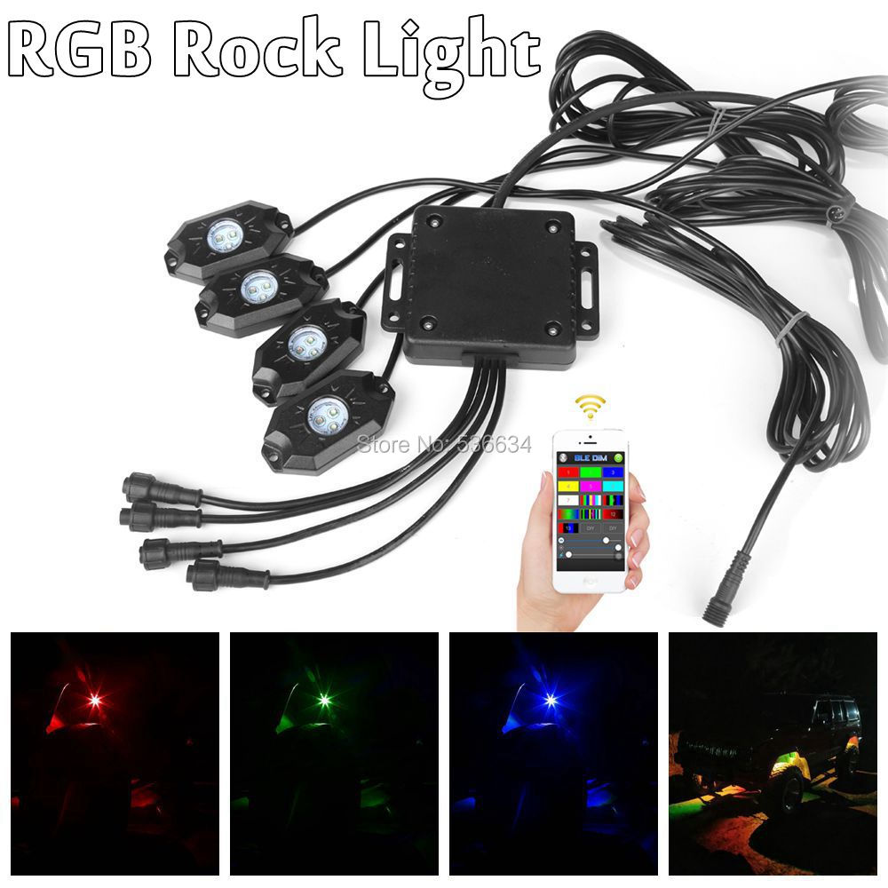 9W RGB LED Rock Light batholith lamp with Bluetooth Wireless Remote Controller for all cars such as Jeep,SUV,Truck,Boat,ATV,4WD 1pcs 120w 12 12v 24v led light bar spot flood combo beam led work light offroad led driving lamp for suv atv utv wagon 4wd 4x4