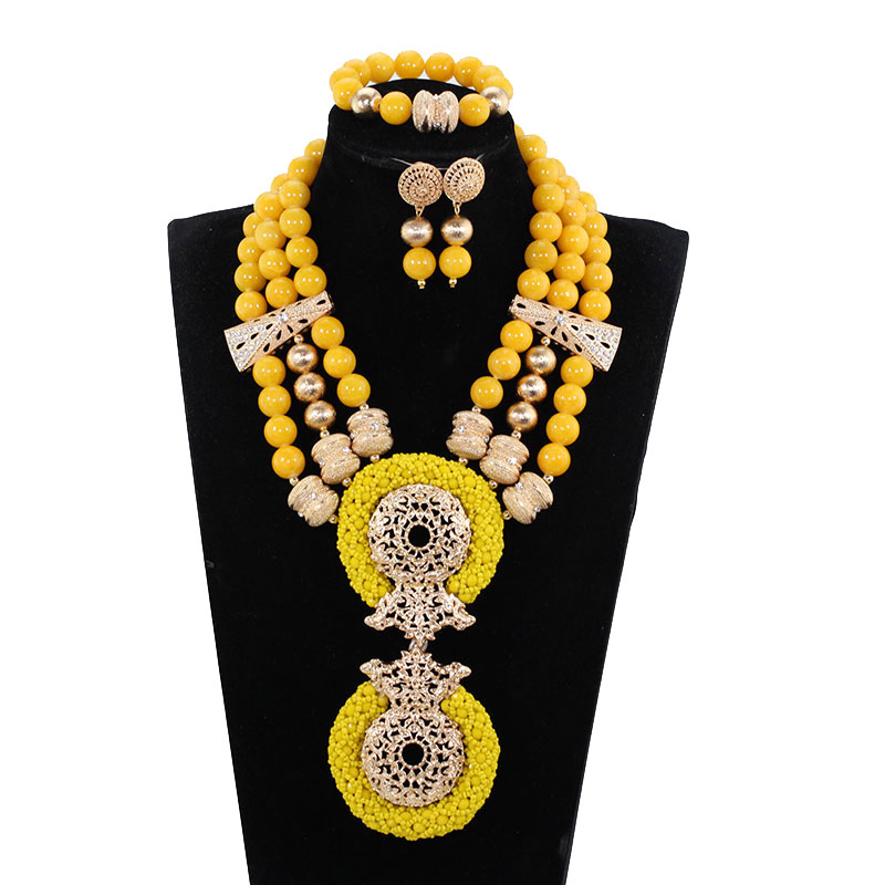 Latest Deep Yellow Beaded African Costume Jewelry Set Wedding Bib Crystal Statement Necklace Set Mustard WE176 mustard