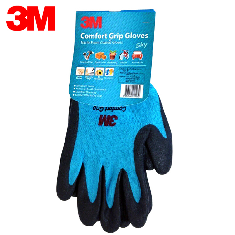 3M Wear-resistant Gloves Anti-skid Comfortable Nitrile Rubber Gloves Size M Working Gloves Orange/Green/Blue KM006 cut resistant retardant gloves nitrile rubber spandex lining gloves yellow size l xl top quality gm1140