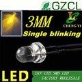 Бесплатная доставка, круглая Светодиодная лампа 3 мм, одноцветная мигающая светодиодная желтая Автоматическая мигающая Светодиодная лампа...