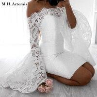 M H Artemis White Lace Dress Women Flare Sleeve Bodycon Dress Female Sexy Off Shoulder Short