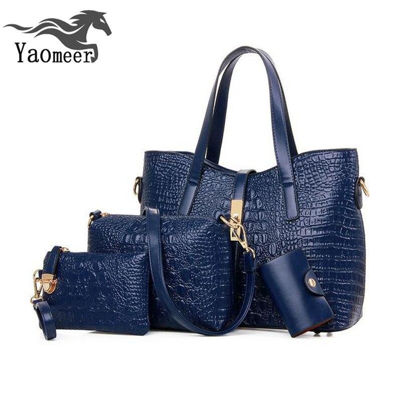 ФОТО Luxury Pu Crocodile Handbags Women Messenger Bags Female Purse Solid Shoulder Bags Sets Lady Casual Tote Brand Designer Bags Sac