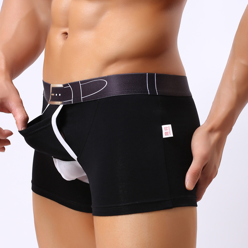 Sexy Fashion Pockets Boxer Shorts Brand Men Underwear Boxer Cotton Body Sexy Gay Separation U Convex Penis Pouch Underpants