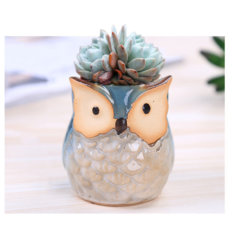 Cartoon Owl-shaped Flower Pot For Succulents Fleshy Plants Flowerpot 6pcs/set Ceramic Small Mini Home/Garden/Office Decor