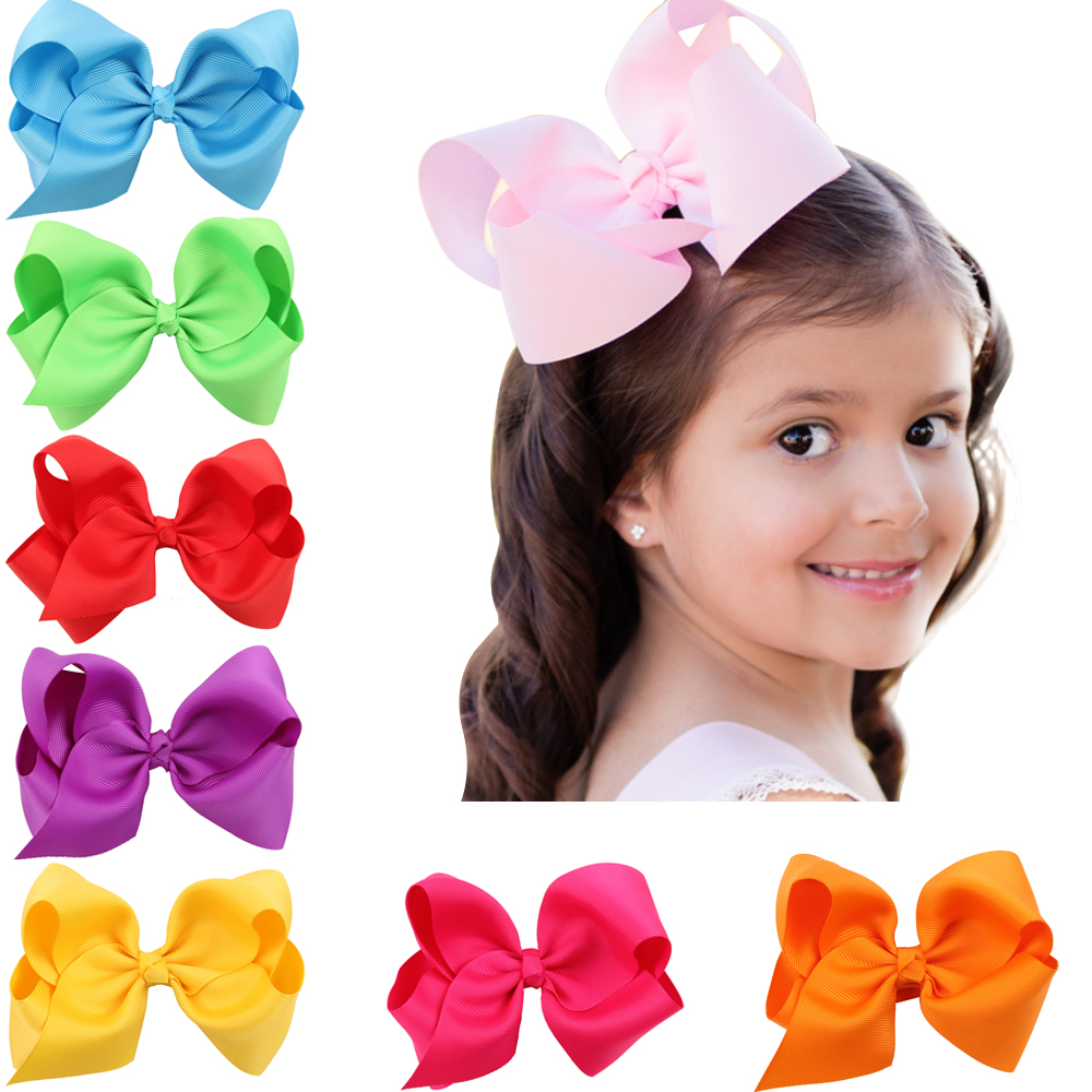 1pc 6 INCH fashion big kids baby girl solid ribbon hair bow flower barrettes children hairpin hairgrip headwear hair accessories