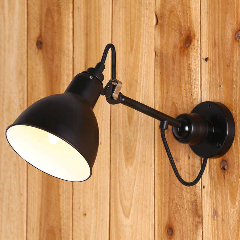 Retro loft wall lamp bed room living room aisle office stair office study bedside light adjustable arm wall sconce bra E14 light