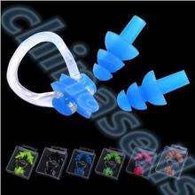 20set Soft Silicone Waterproof Swimming Diving Surf Water Sports Protection Earplugs Nose Clip with Case Bag Swim Pool Gear tool 1 set waterproof silicone diving swim sport accessories adults children swimming ear protection plugs earplugs nose clip w case