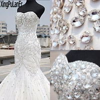 Shiny Heavy Beaded Luxury Crystal Wedding Dress Mermaid Vintage Strapless Sweetheart Rhinestone Stunning Bridal Gown Plus Size