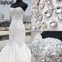 Shiny Nặng Đính Cườm Sang Trọng Pha Lê Wedding Dress Mermaid của Vintage Strapless Sweetheart Rhinestone Stunning Bridal Gown Cộng Với Kích Thước