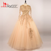 LIYATT 2017 Gold Lace Appliques Pearls Crystal Ball Gown Puffy Amazing Tulle Sexy Cheap Evening Prom Dresses Robe De Soiree