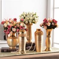 European Plating Ceramic Vase Ornaments Gold Wire drawing Diamond Vase Ceramic Ornaments Wedding Home Living Room Display Vase
