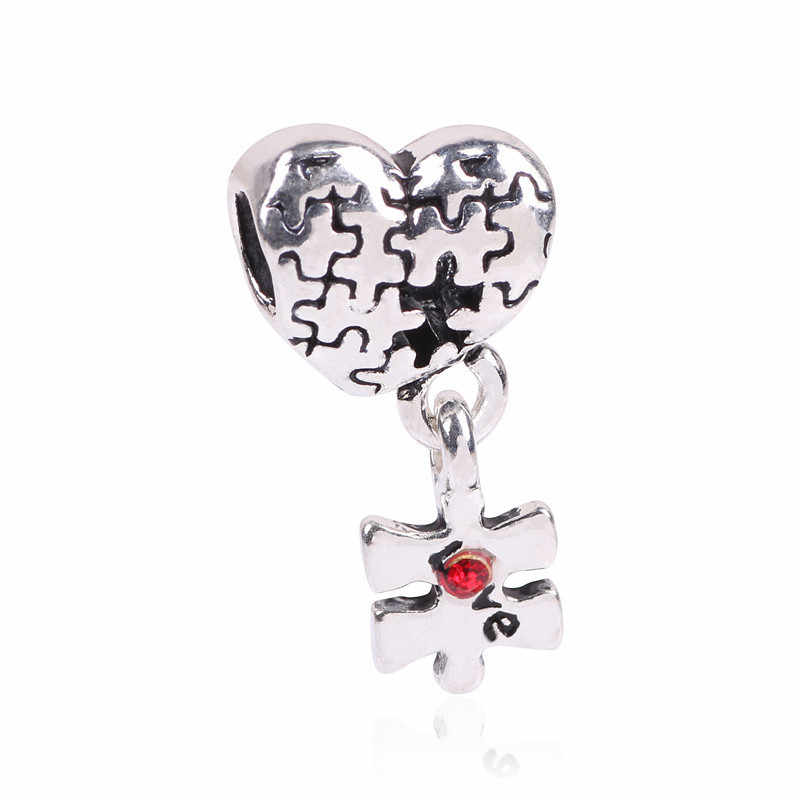Natural Animal Flower 925 Silver Charms Vintage Pendant Fit Pandora Bracelets & Bangles Forever my heart Fashion Jewelry