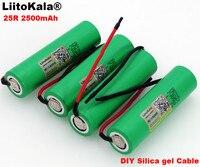 LiitoKala Nuovo 18650 2500 mah batteria Ricaricabile 3.6 v INR18650-25R 20A di scarico + FAI DA TE gel di Silice Cavo