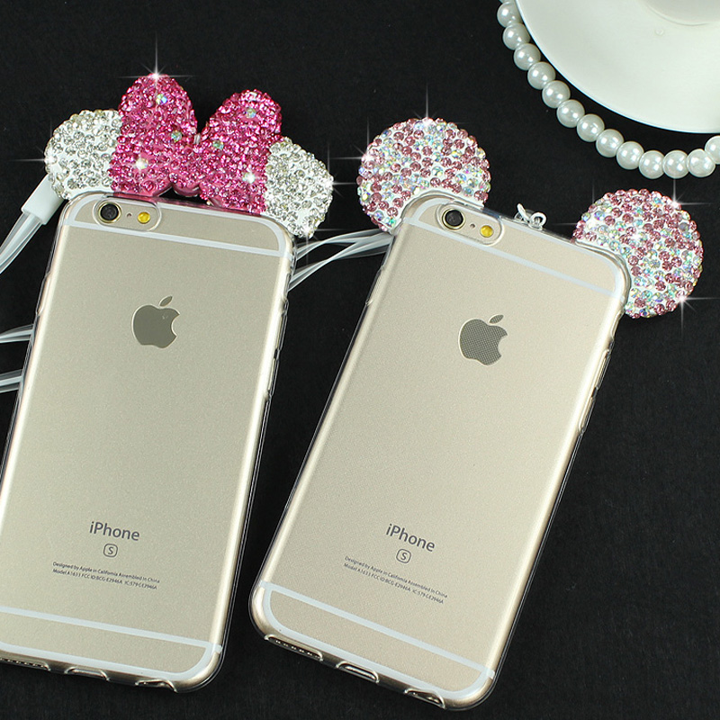 JAMULAR Diamond Mickey Mouse Case For iPhone 6 6S 8 Plus Rhinestone Soft Transparent Clear Phone Cover for iPhone 7 8 Plus Cases