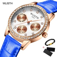 WLISTH Ladies Diamond Women Bracelet Watches Luxury Rose Gold Wrist Watch Female Dress Clock Display Week Date Relogio Feminino